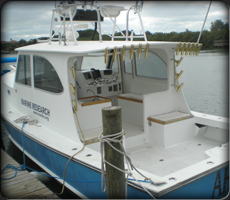California Shark Diving's Flagship Boat, the Northern Bay 36